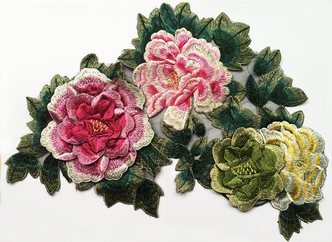 Flower applique lace embroidery supplies for