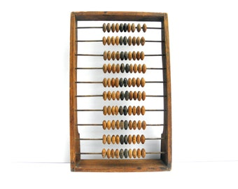 Vintage Large Wooden Abacus, Retro Wooden Abacus, Wooden Calculator School, Primitive Calculator Computer, Old Wooden Abacus, Wooden Frame