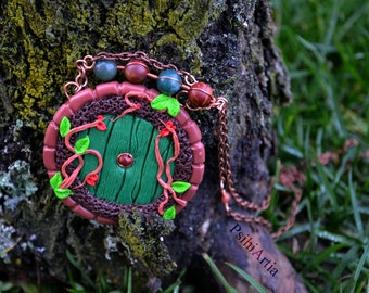 Fairy door necklace Hobbit's door necklace Fairy door jewelry Hobbit inspired necklace Polymer clay necklace Hobbit jewelry One of a kind