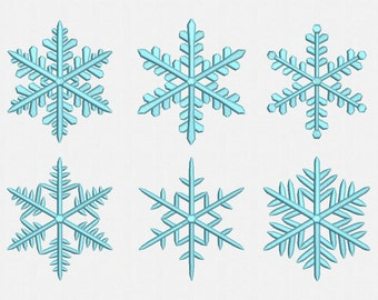 Snowflake Machine Embroidery Design - 6 Designs by 4 Sizes