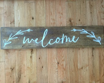 Hand-painted Wood Welcome Sign; Welcome Sign; Welcome Wood Sign; Rustic Welcome; Rustic Welcome Sign; Wood Sign