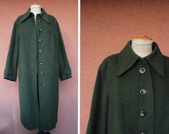 1970's Vintage Swiss Wool Coat - 1970's Vintage Long Army Coat - Size M / L