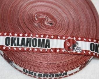"Oklahoma Sooners inspired  OKLAHOMA college football 7/8"" grosgrain ribbon R78CF D"