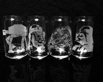 Star Wars Beer Can Glasses - Set of 4