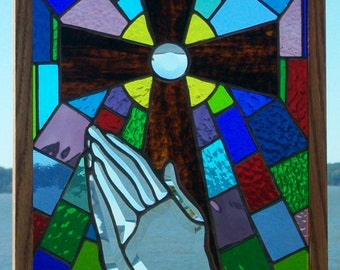 Stained Glass Praying Hands Panel