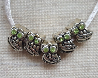Owl Beads X 5. Bird Charm Beads. European Bracelet Style.  UK Seller