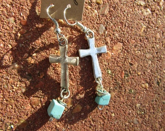 cross and turquoise beads  earrings