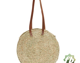 Round wicker basket long leather handle :  French Basket, Moroccan Basket, straw bag, french market basket, Beach Bag, straw