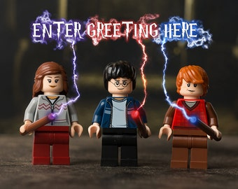 DIGITAL DOWNLOAD – Personalised print-ready greetings card image featuring Harry, Ron & Hermione (Harry Potter) themed LEGO minifigs