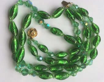 Vintage Emerald Green Foil Glass and Aurora Borealis Beads Multistrand Graduated Necklace/Rose Box Clasp/Mixed beads