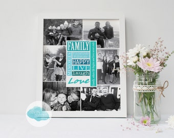 10x8 Inch Personalised Family Print - FRAMED