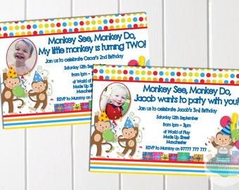 Personalised Monkey Themed Birthday Invitations with Envelopes