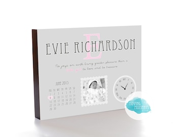 Personalised New Baby Wooden Photo Block