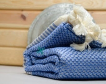 Sea Blue Thick Turkish Bath Towel