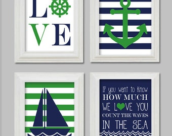 8x10 Digital File - Kelly Green - Nautical Nursery - Nautical Art Prints - Anchor - Sailboat - Count the waves in the sea - Green and Navy
