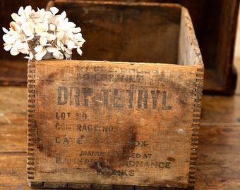 Vintage Wooden High Explosive Shipping Crate - Dovetail Details - Rustic and Farmhouse Decor - Free Shipping Within the USA