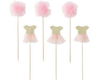 12 Pink Tutu & Pom Pom Cake Topper Set, Cake, Cupcakes Toppers, Picks, Party Picks, Ballet Picks, Toppers