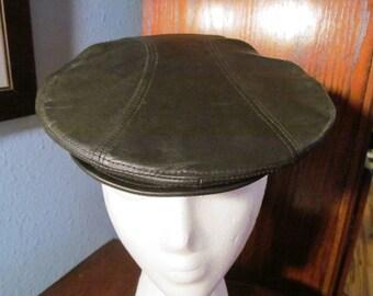 Vintage Leather Newsboy Cap