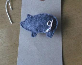 Felt Grey pig brooch