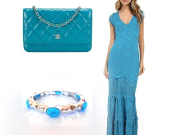 Hammered Sterling Silver Turquoise Bangle Bracelet. SALE!