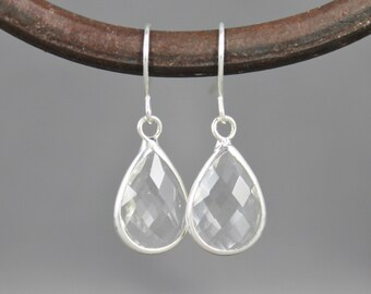 Silver Clear glass earrings faceted teardrop pendant dangle lightweight small dainty wedding bridesmaid gift