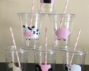 Girls farm party cups, Pink Farm Party, Pink Tractor Party, Farm Birthday Party, Farm Baby Shower, Girls Farm Birthday Party