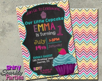 Cupcake Party Invitations - cupcake first birthday - CUPCAKE BIRTHDAY INVITATION - Little Cupcake Invite - Girl Birthday - Baking Party diy