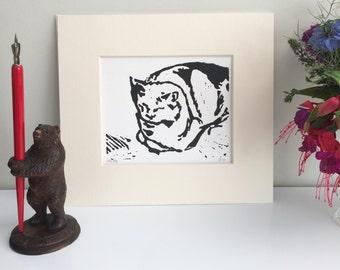 Sleeping Cat Lino Print