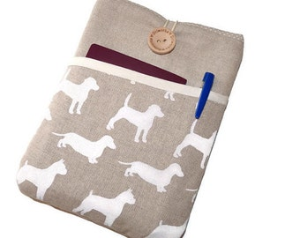 Kobo Glo HD Sleeve Linen Dogs, Kindle paperwhite case cover, kindle voyage purse, Padded Kobo Touch purse,-  eReader Pouch - SALE