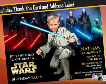 Turn your kid into a Jedi! Star Wars Invitation, Star Wars Birthday Invitation. May the force be with him!