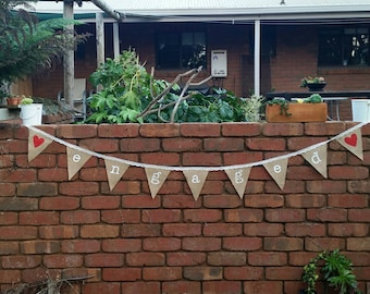 Engaged Burlap bunting. Wedding bunting. Hesian bunting. Garland. Hand painted.