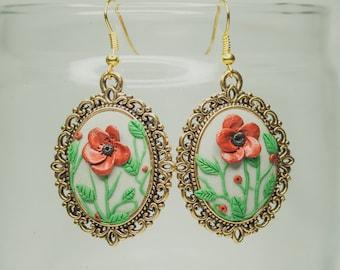 Red flower earrings / Handmade / Polymer clay