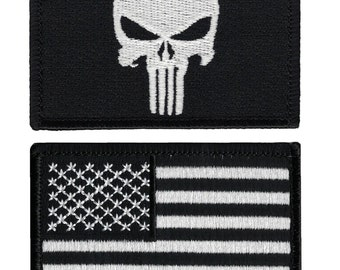 Set Of 2 Velcro Tactical USA Flag Black & White /Punisher Black Patch