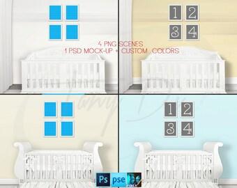 Nursery Interior #25 Set of 4 White Unmatted 8x10 Portrait Frames, Nursery Baby Crib, 4 Print Display Mockups, PNG PSD PSE, Custom colors