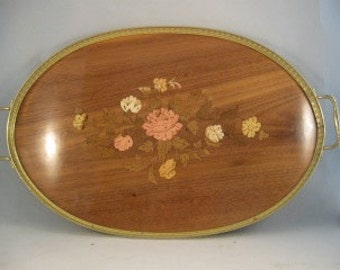 Vintage Italian Wood Marquetry Floral Serving Tray