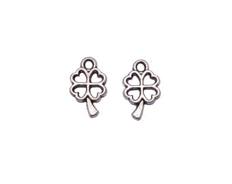 CLEARANCE 100 Antique Silver Little Clover Pendant Charms 6x10mm Nickel Free