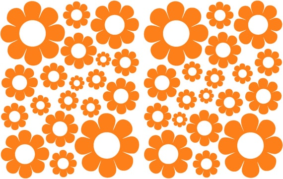 Orange Daisy Shaped Vinyl Decals great for Teen, Kids, Baby, Nursery, Dorm Room Walls - Removable Custom Made - Super Easy to Install
