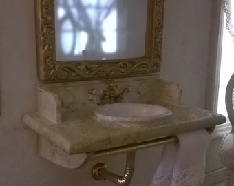 Miniature dollhouse BATHROOM SINK with MIRROR-miniature sink with mirror