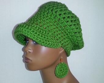 Crochet Newsboy Hat with Earrings, Kelly Green Newsboy Hat, Women's Winter Hat, Crochet Hat with Visor, Green Newsboy Cap with Earrings