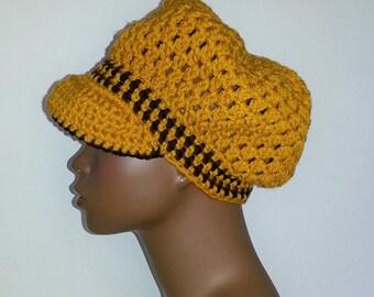 Crochet Newsboy Hat, Yellow Gold and Brown Newsboy Hat, Womens Winter Hat, Crochet Visor Cap, Womens Newsboy Hat, Womens Crochet Winter Hat