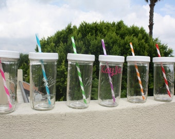 Set of Four (4) Mason Jar 24 oz tumblers with lid and straw | Travel Cup | Fits in car cup holder | Personalized