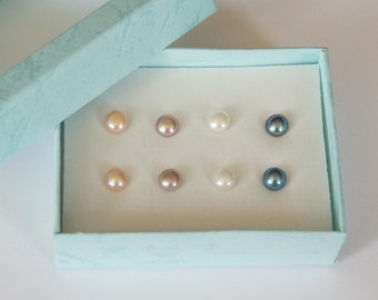 Freshwater Pearl Earrings, Stud Earrings, 7mm, Stainless Steel Posts, White, Peach, Mauve, Tahitian, Fast Shipping from USA
