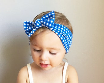 Blue Gingham Baby Bow Headwrap - Toddler Bow Headwrap