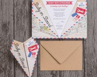Paper Airplane Baby Shower Invitation