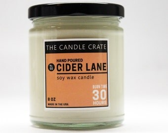 Cider Lane Hand Poured Fall Candle Eco Friendly Highly Scented Soy Wax Candle
