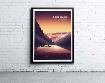 Lake Louise Sunset Illustration Print, Poster, Art, Wall Art, Typography