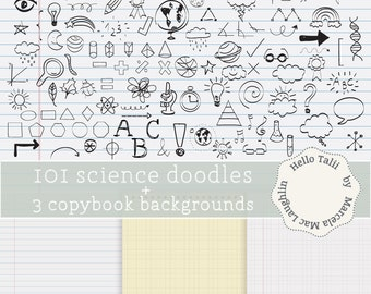 Back to School Doodles Clipart 101 SCIENCE and MATH Handdrawn Graphics+ 3 Copybook Digital Papers Earth Sun Arrows Planets Math signs
