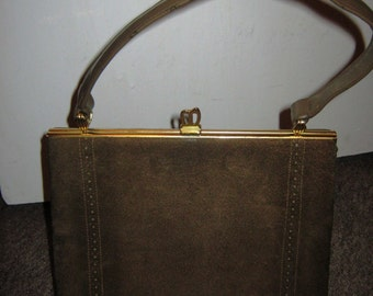 ON SALE - 1970's  Taupe Suede and Leather Handbag by Debonair