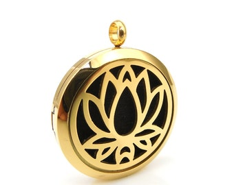 Essentail Oil Diffuser Necklace- Gold Lotus Flower