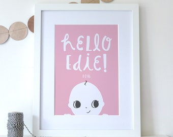 Framed Personalised New Baby Print - A3 print - Name Print